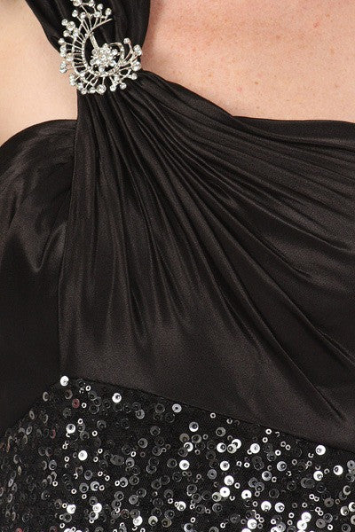 Short Sequin Cocktail Dress Black One Shoulder Satin Top