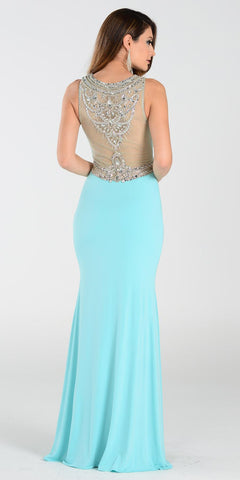 Poly USA 7192 Full Length Sexy Prom Gown Aqua Sheath Back View