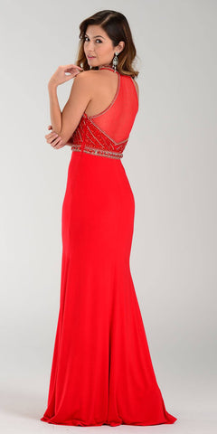 Poly USA 7194 Sexy Red Carpet Long Gown Red Keyhole Bodice Back View