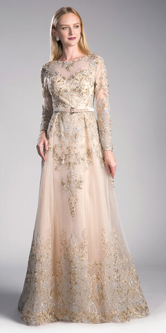 Champagne Long Sleeved Embroidered Formal Dress with Belt