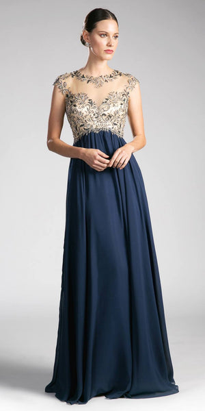 Cinderella Divine 72 Sweetheart Illusion Neck Empire Cap Sleeves Navy Blue Evening Gown