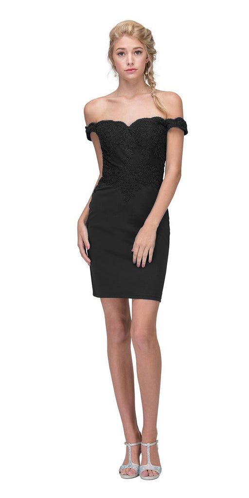 Eureka Fashion 7200 Off-the-Shoulder Short Party Dress Appliqued Bodice Black