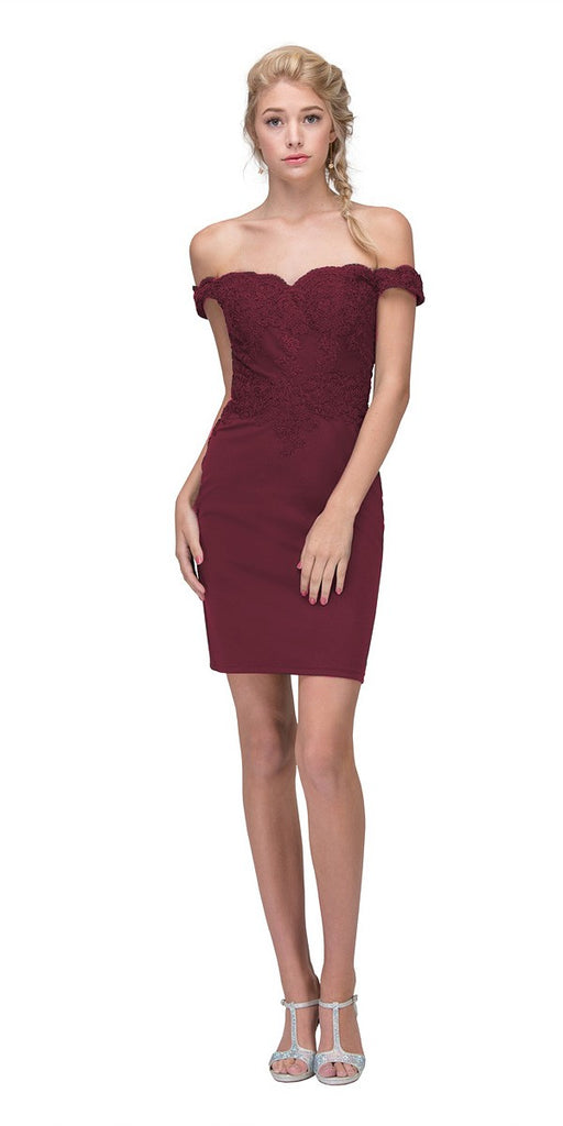 Eureka Fashion 7200 Off-the-Shoulder Short Party Dress Appliqued Bodice Burgundy