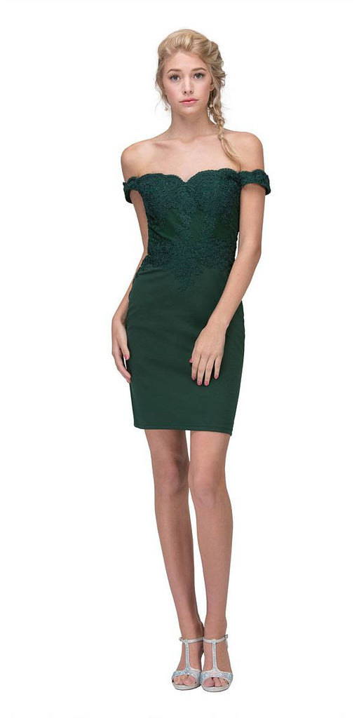 Off-the-Shoulder Short Party Dress Appliqued Bodice Hunter Green