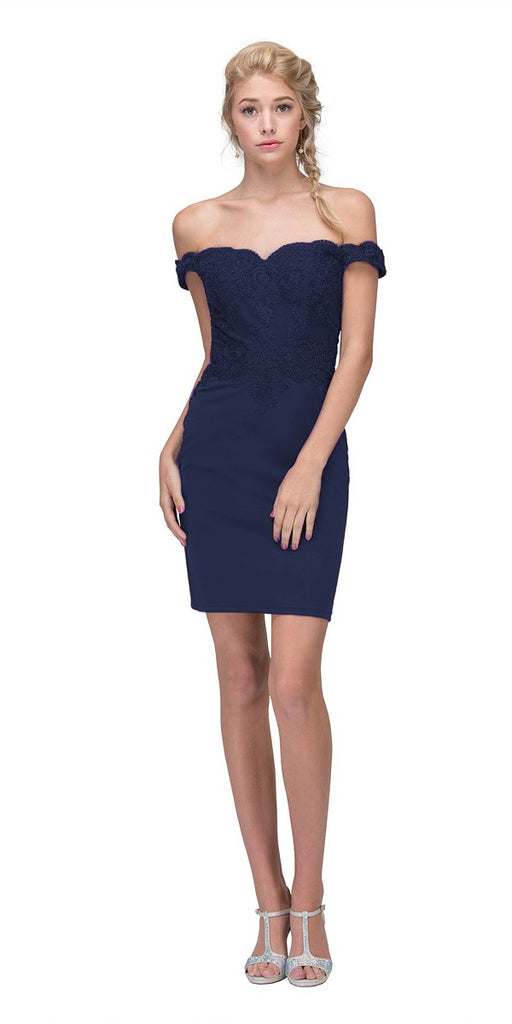 Eureka Fashion 7200 Off-the-Shoulder Short Party Dress Appliqued Bodice Navy Blue