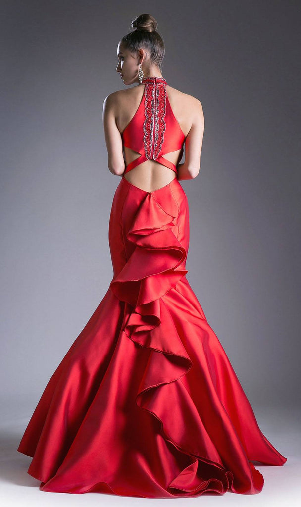 Halter Mermaid Prom Gown Cut-Out Ruffled Back Red