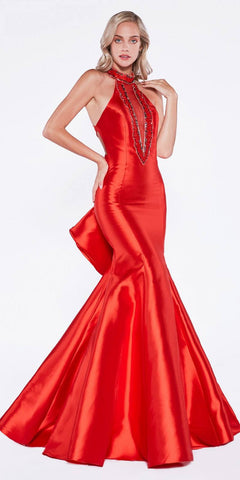 Cinderella Divine 72046 Halter Mermaid Prom Gown Cut-Out Ruffled Back Red