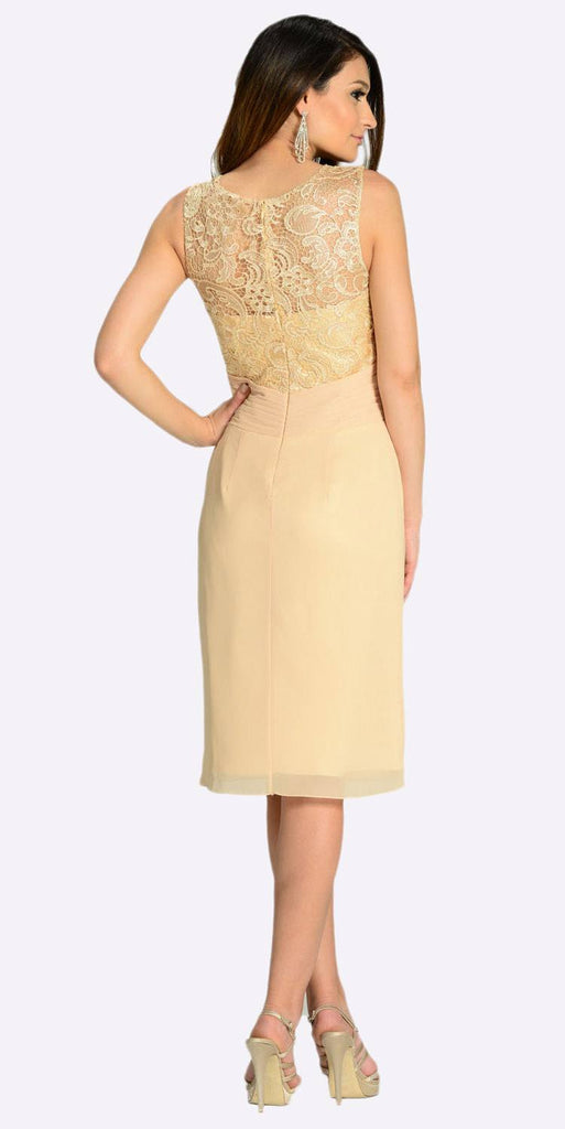 Poly USA 7208 Knee Length Formal Dress Champagne Lace Top Chiffon Skirt Back View