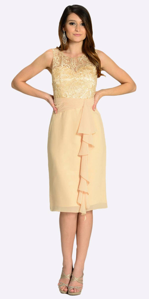 Poly USA 7208 Knee Length Formal Dress Champagne Lace Top Chiffon Skirt