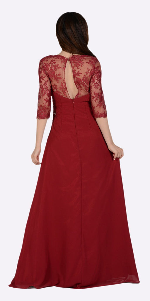 Poly USA 7210 Long Chiffon/Lace Dress Burgundy Mid Length Lace Sleeves Back View