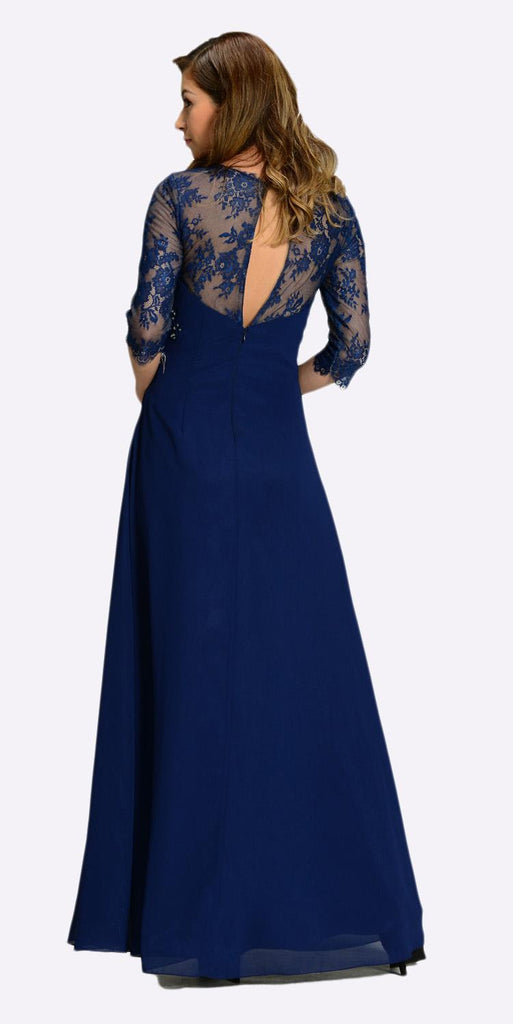 Poly USA 7210 Long Chiffon/Lace Dress Navy Blue Mid Length Lace Sleeves Back View