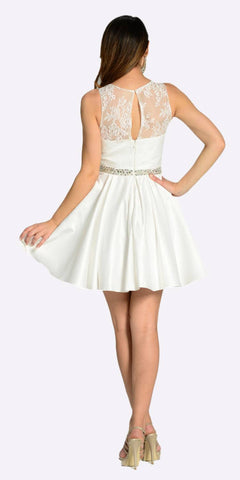 Off White A Line Short Satin/Lace Dress Sleeveless Rhinestone Waist Back View