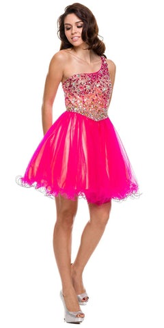 ON SPECIAL - LIMITED STOCK - Studded One Shoulder Short Fuchsia Yellow Puffy Prom Dress - DiscountDressShop