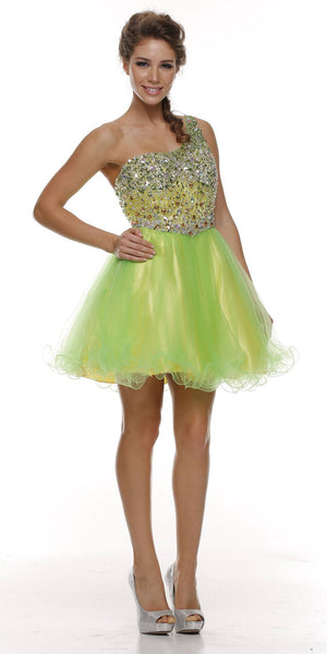 ON SPECIAL - LIMITED STOCK - Studded One Shoulder Short Lime Yellow Puffy Prom Dress - DiscountDressShop