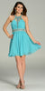 Short Chiffon A Line Dress Light Teal Beaded Halter Neck Sheer Back