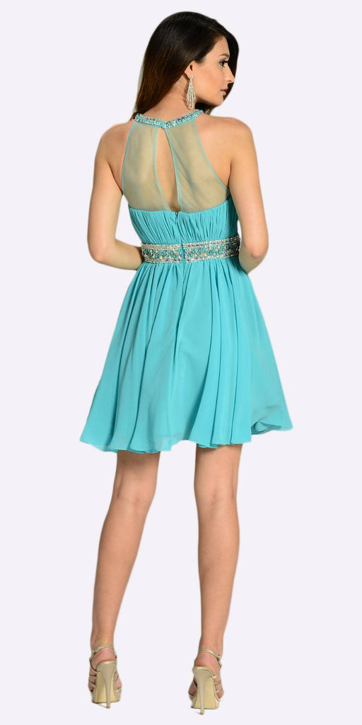 Poly USA 7236 Short Chiffon A Line Dress Light Teal Beaded Halter Neck Sheer Back Back View