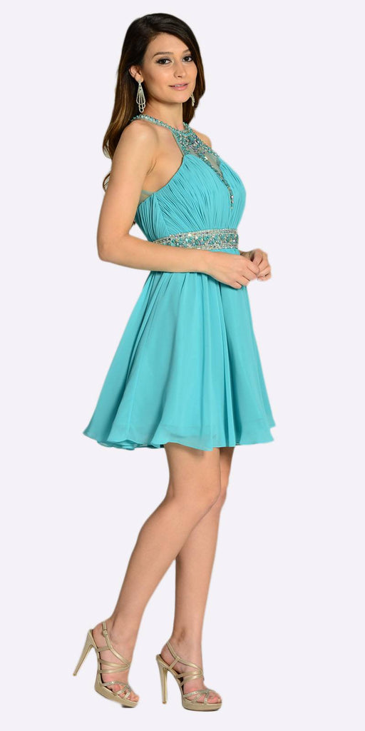 Poly USA 7236 Short Chiffon A Line Dress Light Teal Beaded Halter Neck Sheer Back