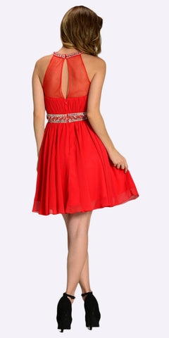 Poly USA 7236 Short Chiffon A Line Dress Red Beaded Halter Neck Sheer Back Back View