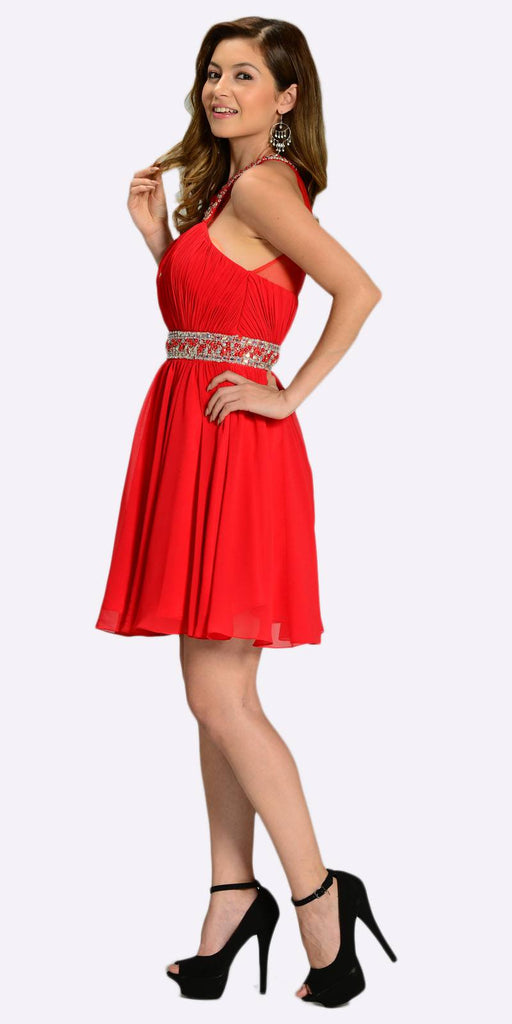 Poly USA 7236 Short Chiffon A Line Dress Red Beaded Halter Neck Sheer Back Side View