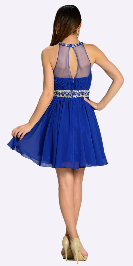 Poly USA 7236 Short Chiffon A Line Dress Royal Blue Beaded Halter Neck Sheer Back View