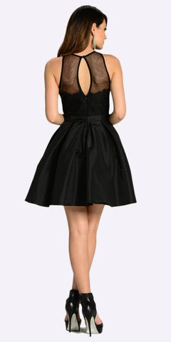 Poly USA 7238 Short Skater A Line Dress Black Illusion Round Neck Lace Applique Back View