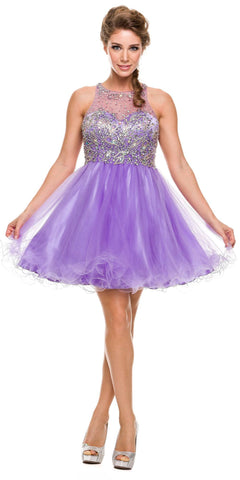 Keyhole Back Bateau Neck Light Lilac Puffy Cocktail Dress