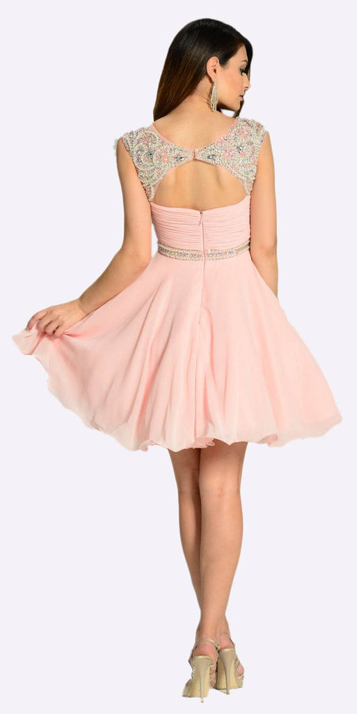 Poly USA 7240 Short A Line Chiffon Dress Blush Ruched Bodice Pearls/Rhinestones Back View
