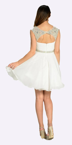 Poly USA 7240 Short A Line Chiffon Dress Off White Ruched Bodice Pearls/Rhinestones Back View