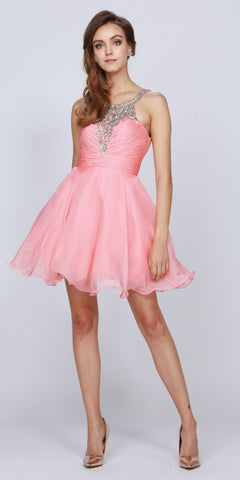 Ruched Bodice Studded Halter A Line Blush Sweet 16 Dress