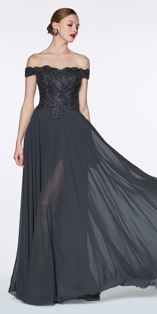Cinderella Divine 7258 Off The Shoulder Long Chiffon Gown Black