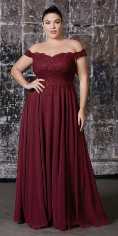 Cinderella Divine 7258 Off The Shoulder Long Chiffon Gown Dark Burgundy