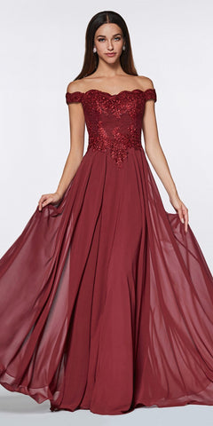 Cinderella Divine 7258 Off The Shoulder Long Chiffon Gown Burgundy