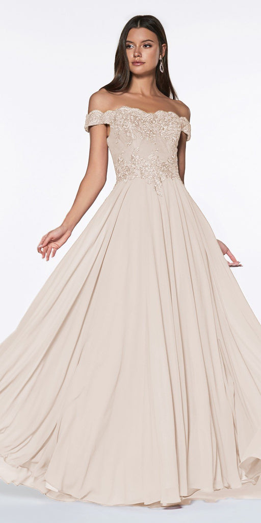 Cinderella Divine 7258 Off The Shoulder Long Chiffon Gown Champagne