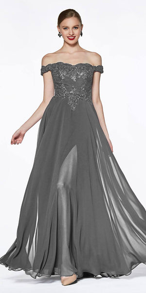 Cinderella Divine 7258 Off The Shoulder Long Chiffon Gown Charcoal