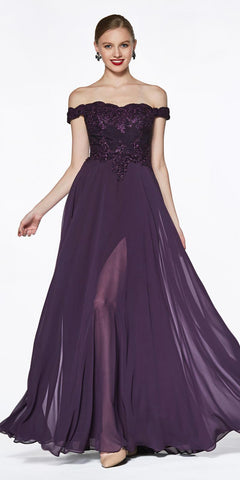 Burgundy Long A-line Prom Dress V-Neck and Back