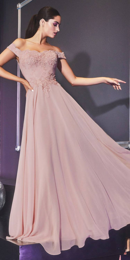 Cinderella Divine 7258 Off The Shoulder Long Chiffon Gown Mauve
