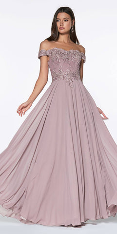 Floor Length A-Line Chiffon Gown Champagne Lace Bodice With Slit
