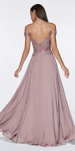 Cinderella Divine 7258 Off The Shoulder Long Chiffon Gown Mocha Back View