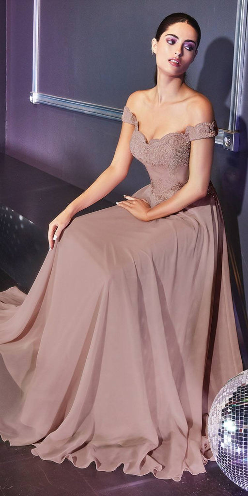 Cinderella Divine 7258 Off The Shoulder Long Chiffon Gown Mocha