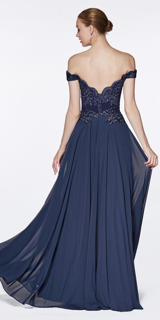 Cinderella Divine 7258 Off The Shoulder Long Chiffon Gown Navy Blue Back View