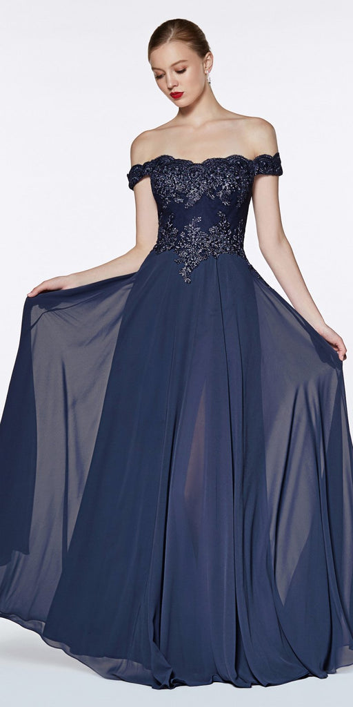 Cinderella Divine 7258 Off The Shoulder Long Chiffon Gown Navy Blue
