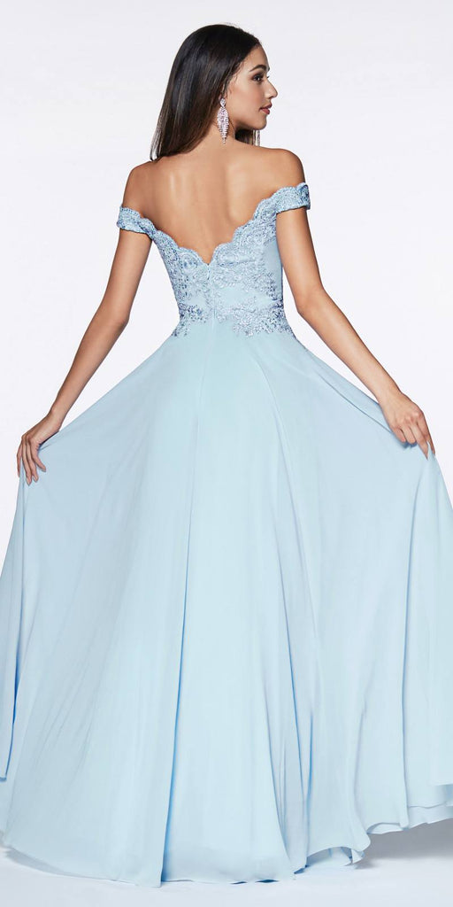 Cinderella Divine 7258 Off The Shoulder Long Chiffon Gown Paris Blue Back View