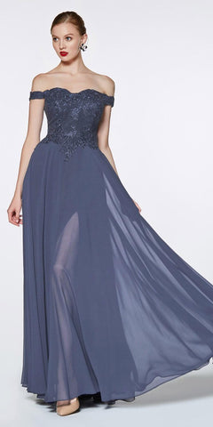 Cinderella Divine 7258 Off The Shoulder Long Chiffon Gown Eggplant