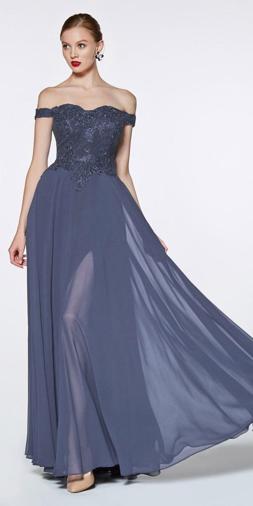 Cinderella Divine 7258 Off The Shoulder Long Chiffon Gown Smokey Blue