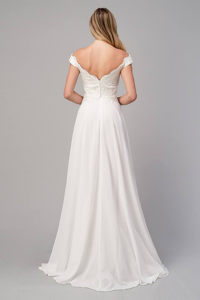 Cinderella Divine 7258 Off The Shoulder Long Chiffon Gown Off White