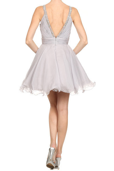 Ruched Bodice Studded Halter A Line Silver Sweet 16 Dress