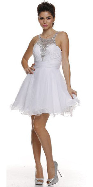 Ruched Bodice Studded Halter A Line White Sweet 16 Dress