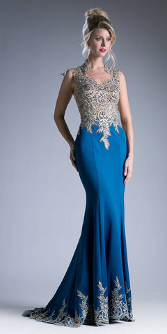 Teal Embroidered Mermaid Long Prom Dress Queen Anne Neckline