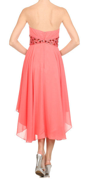 Beaded Empire Waist High Low Strapless Coral Back Party Dress