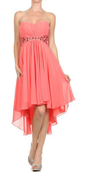 Beaded Empire Waist High Low Strapless Coral Party Dress